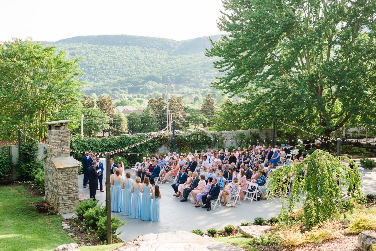 spring garden wedding ceremony at sunset in Chattanooga