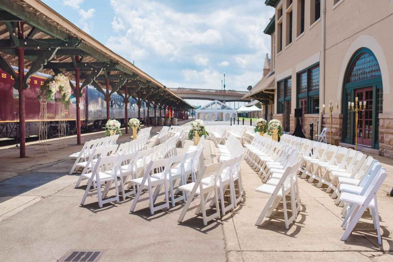 outdoor wedding ceremony at Southern Railway station in Knoxville