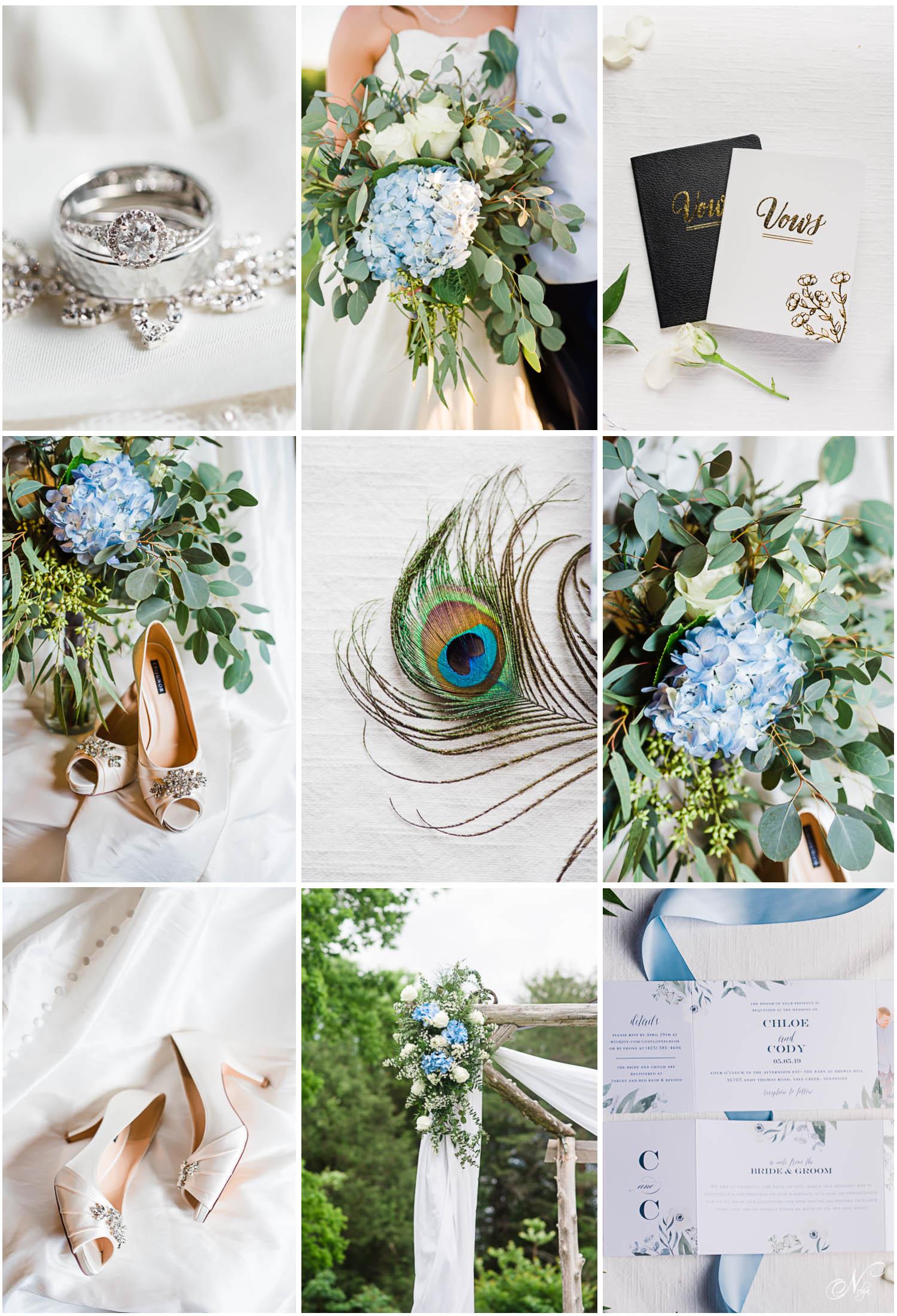 peacock greenery and blue hydrangea