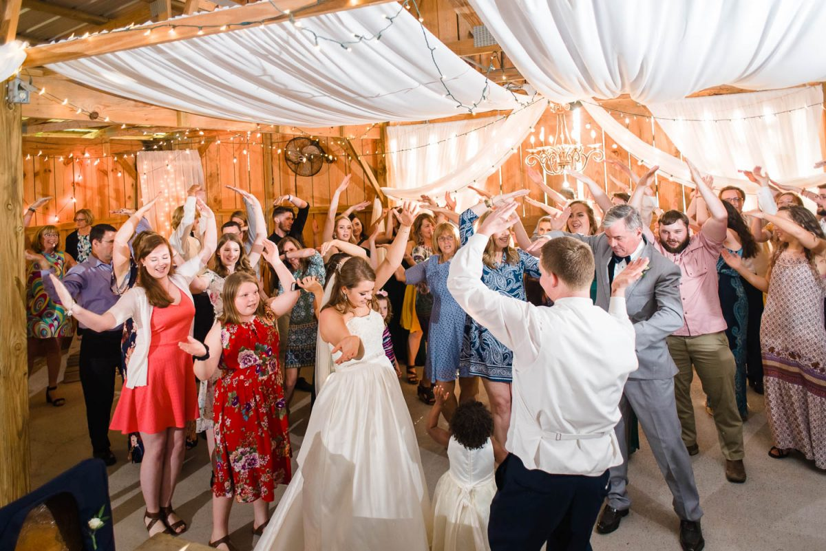 dancefloor full of wedding guests at the barn at drewiahill