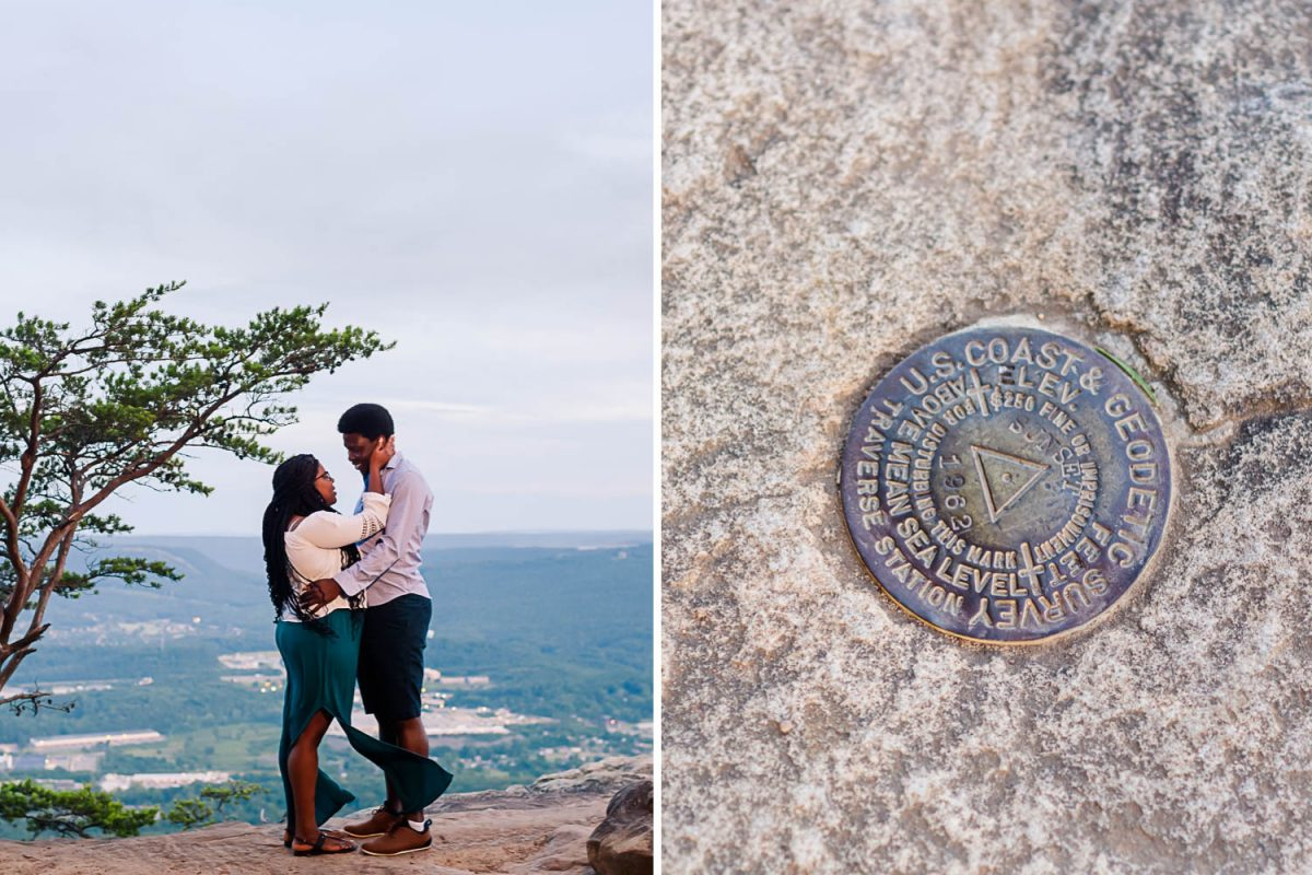 couple standing on sunset rock and the gps marker