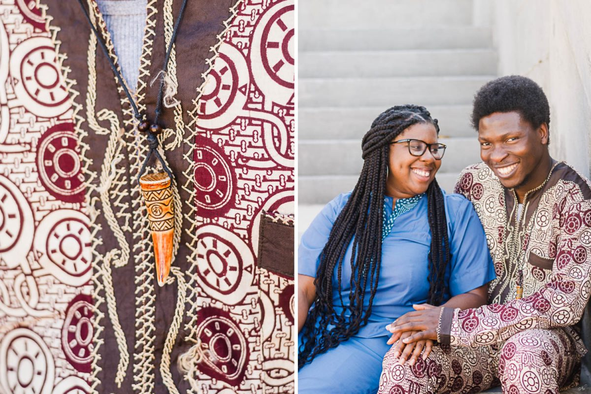 traditional Nigerian clothing and charm necklace. also, two people sitting on steps outside