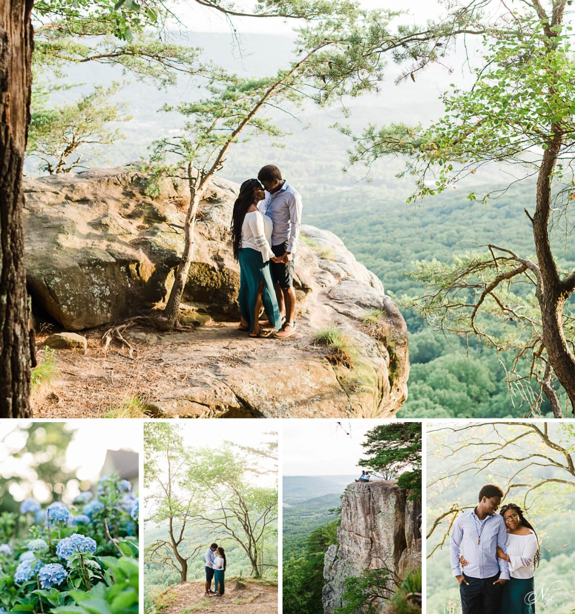 sunset rock summer engagement photos at sunrise