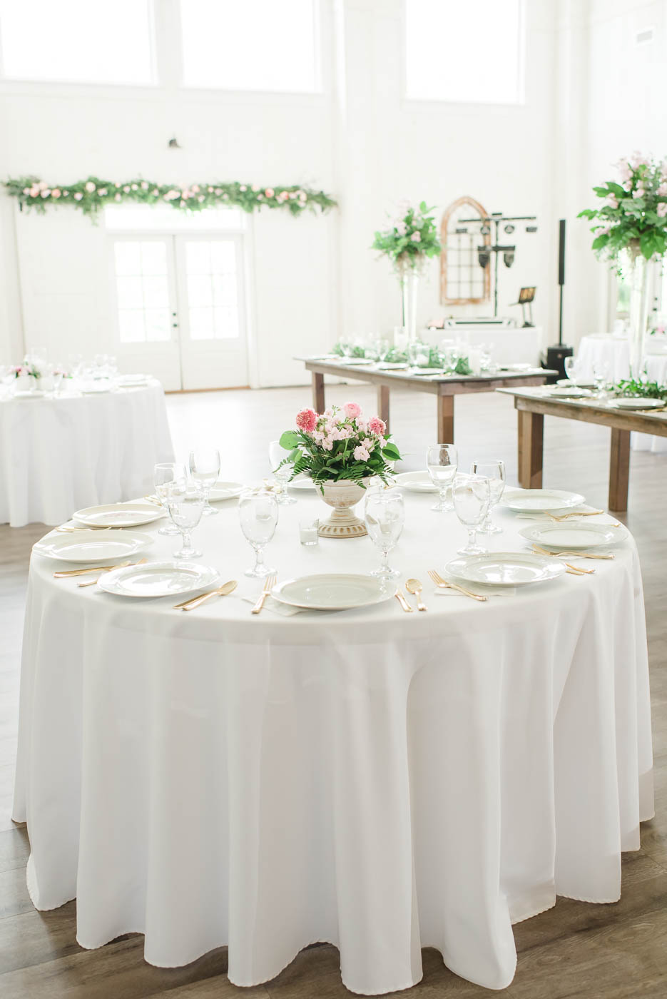long white table clothes at wedding reception