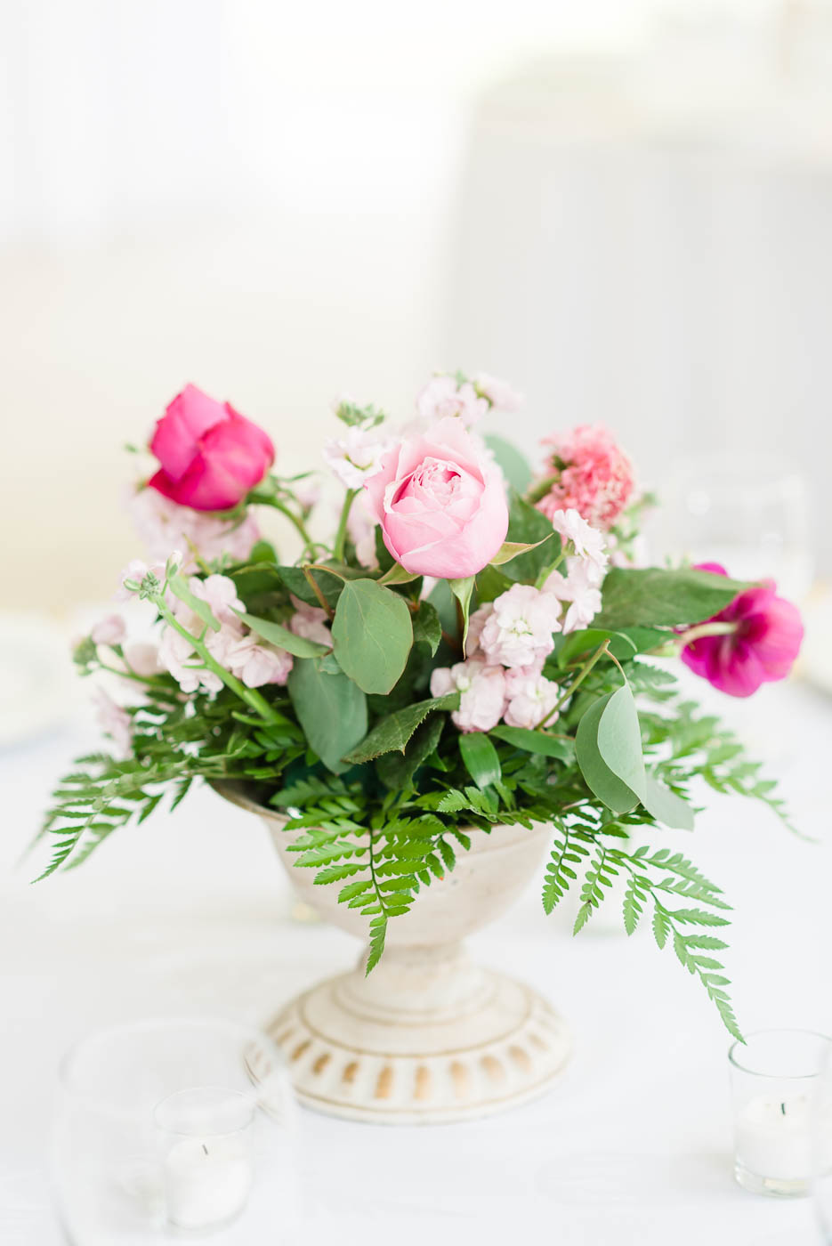 pink rose center pieces