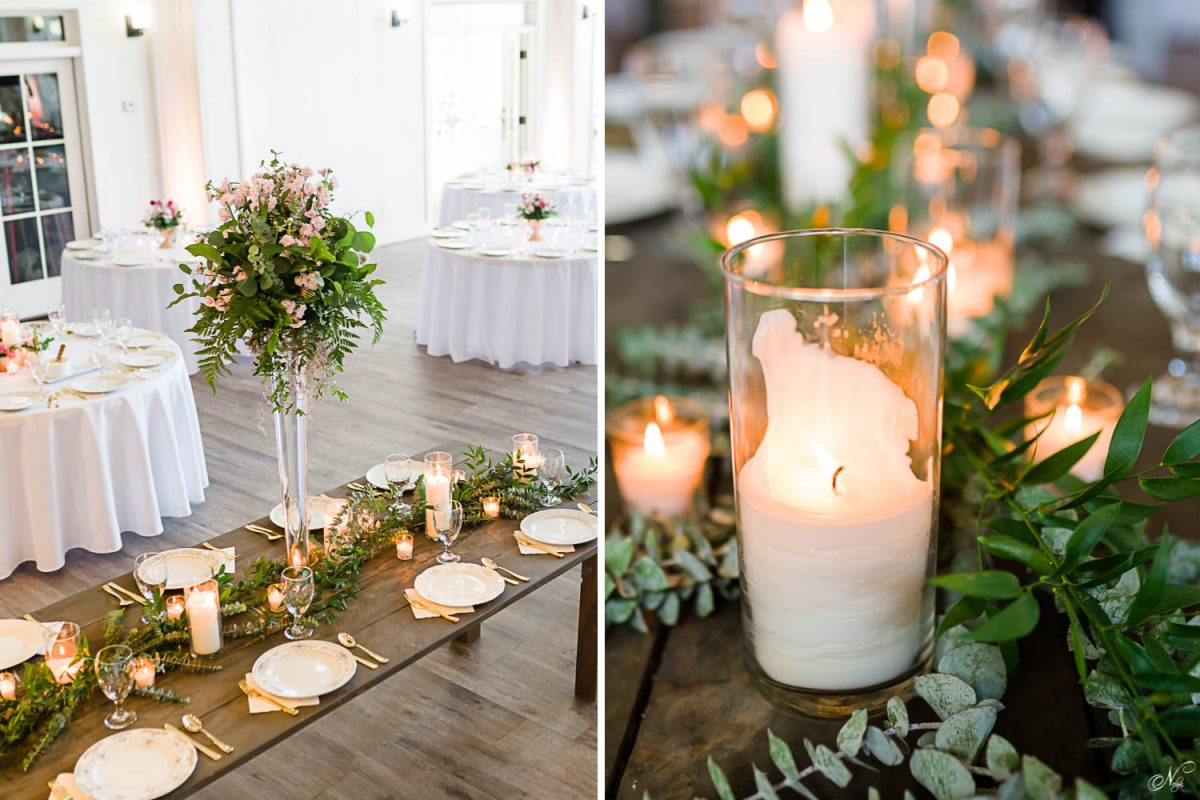 lit candles with greenery at wedding reception