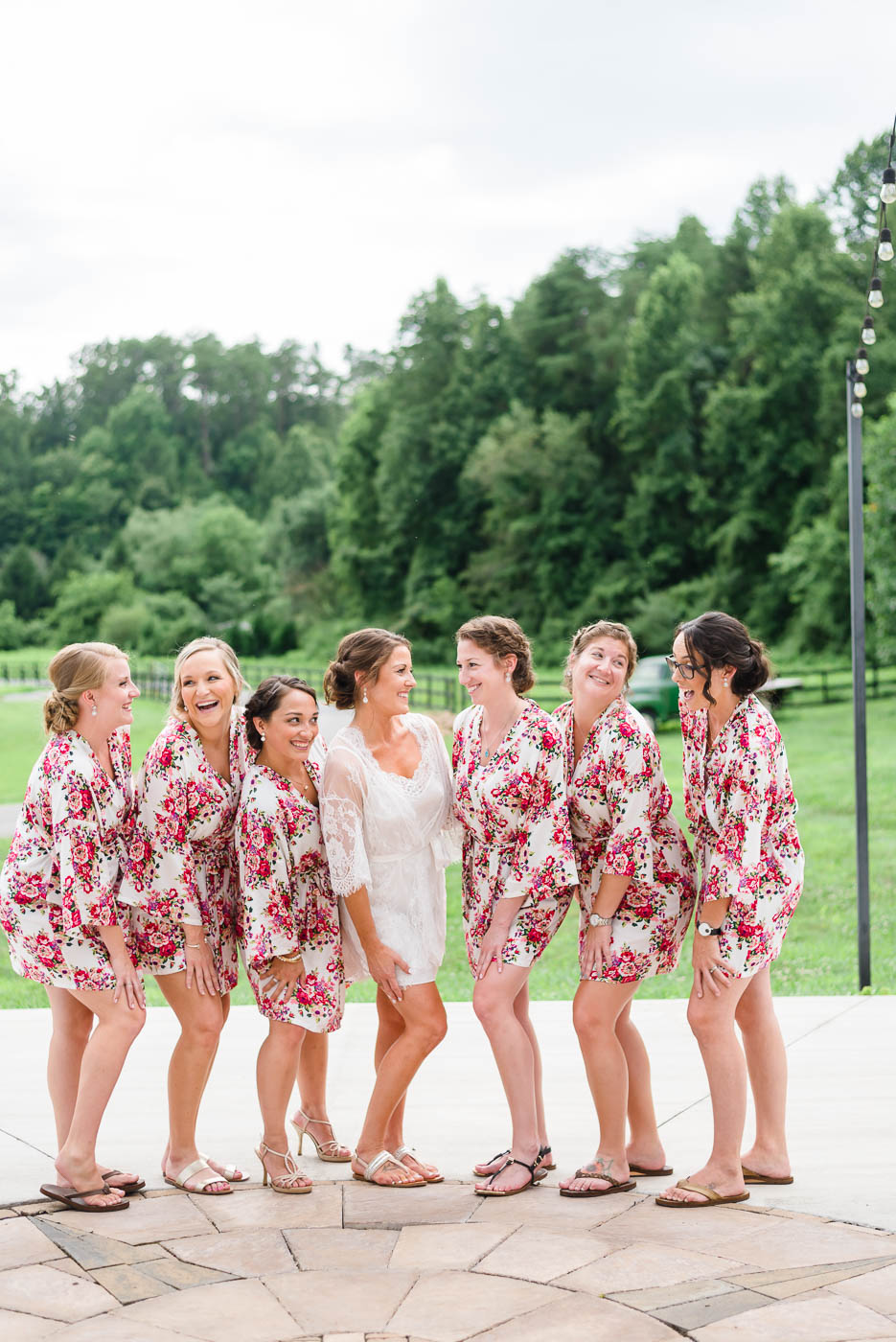 pink red floral bridesmaides robe on girls outside