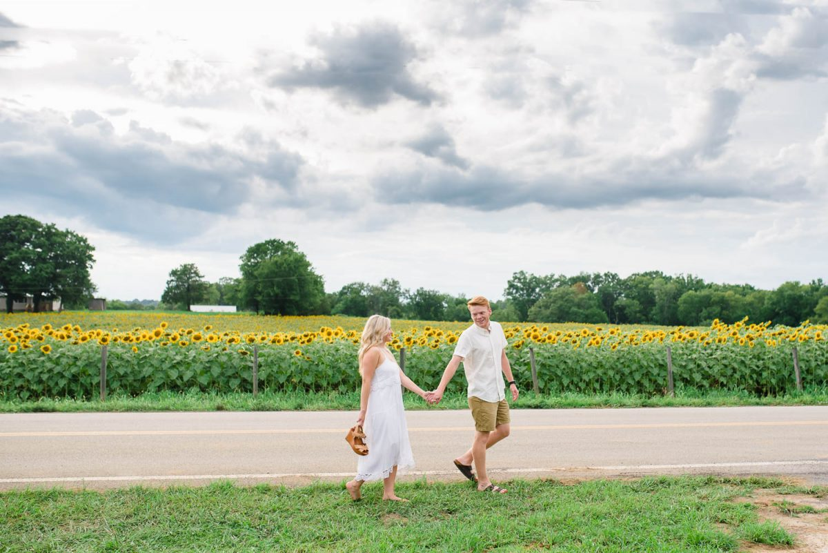 two people walking on road with lots of sunflowers in background