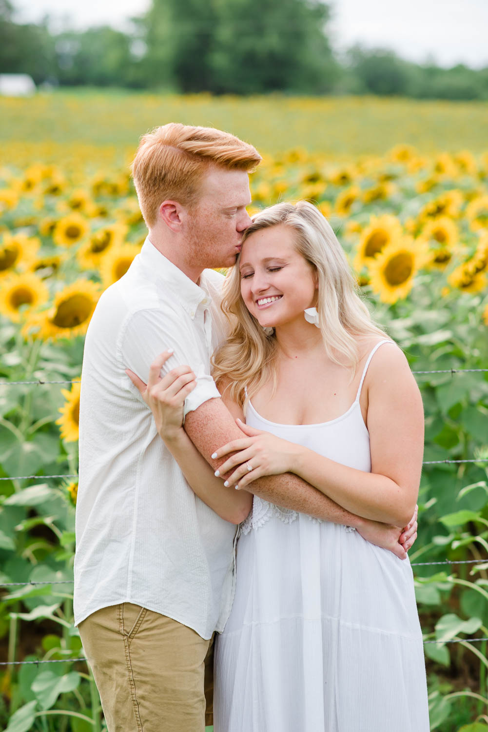 sunflowers engagement photos