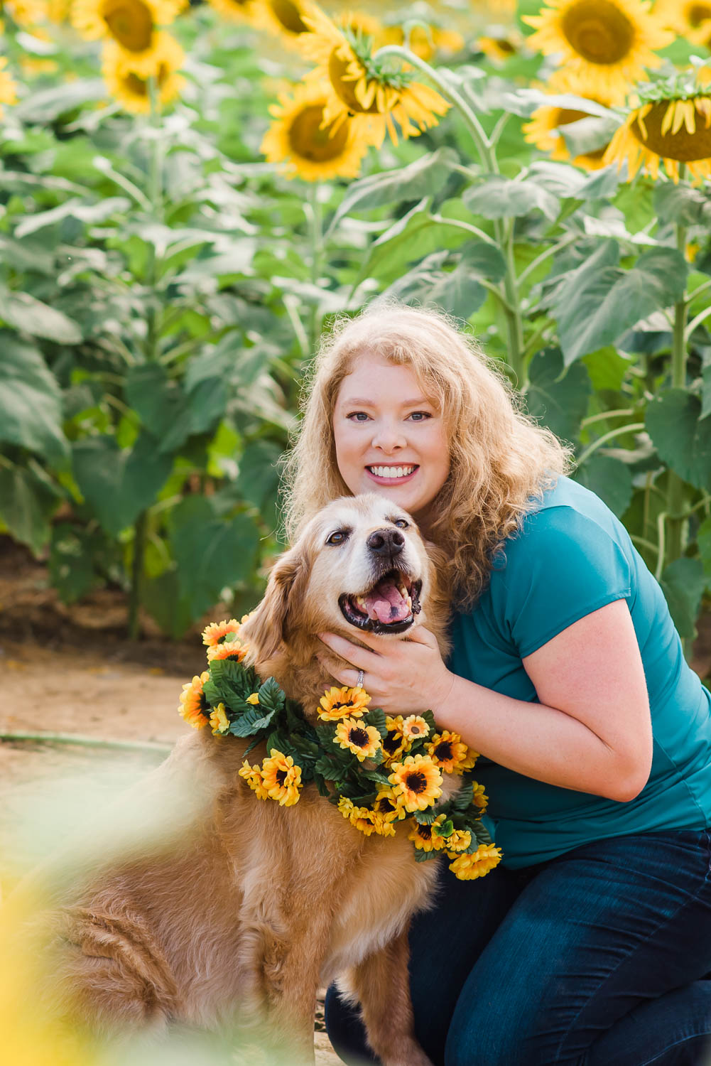 one person hugging dog with sunflower garland