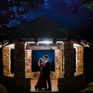 Two people inside the gazebo at night on Oswald Rd, Benton, TN