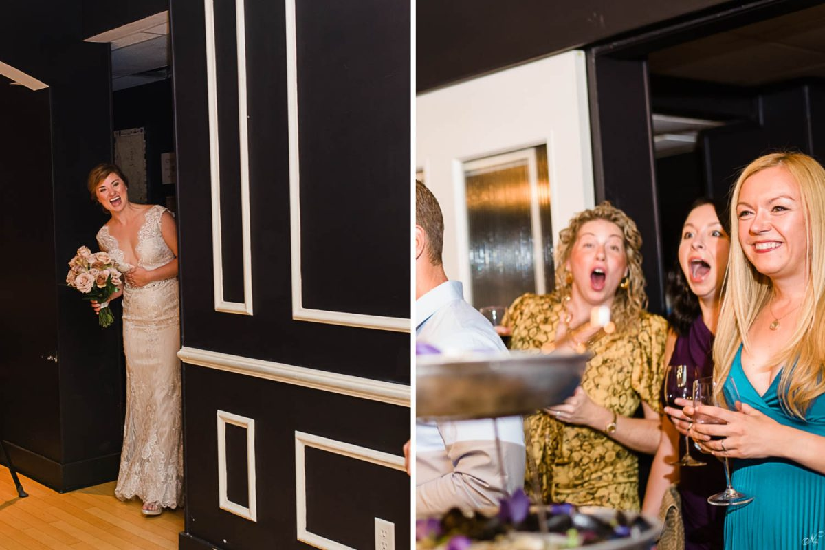 bride entering room andguests reacting in surprise