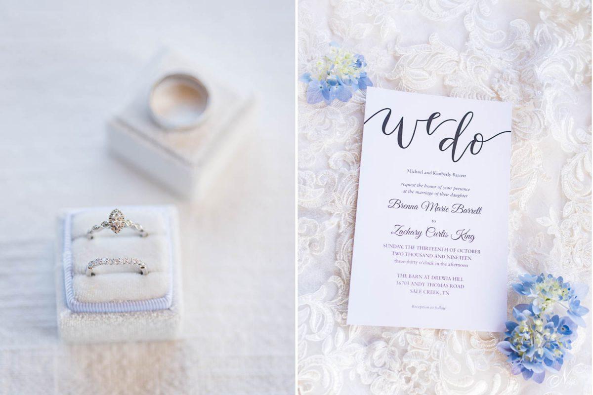 wedding rings on white velvet vintage ring box