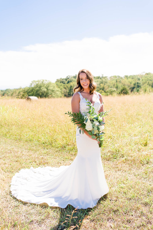 bride outside in wedding dress