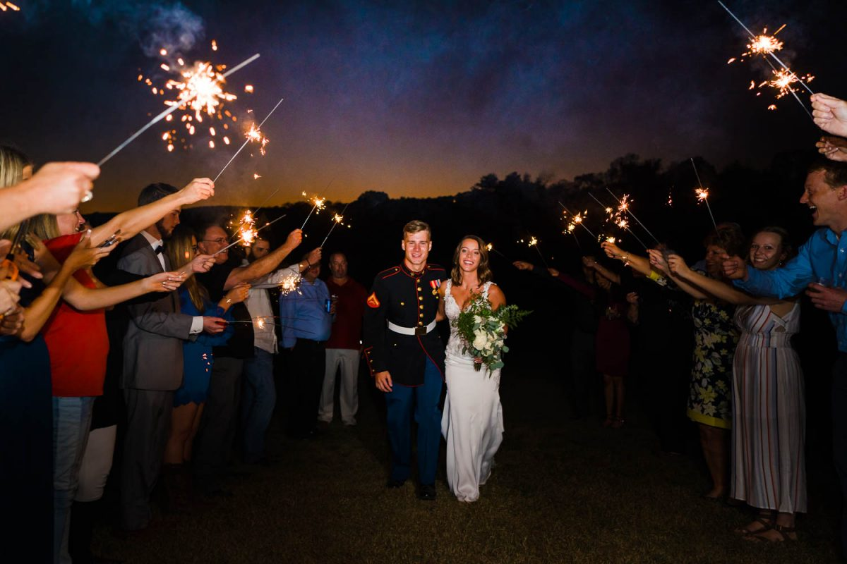 sparkler send off with marine couple