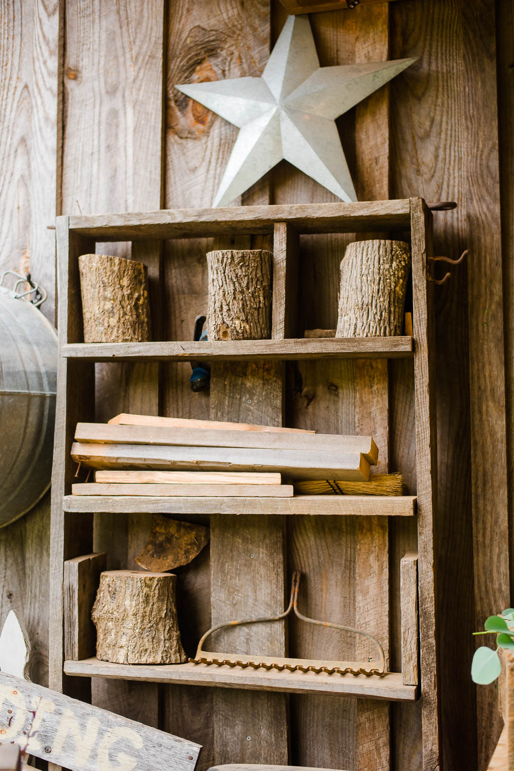 wood decor with metal star