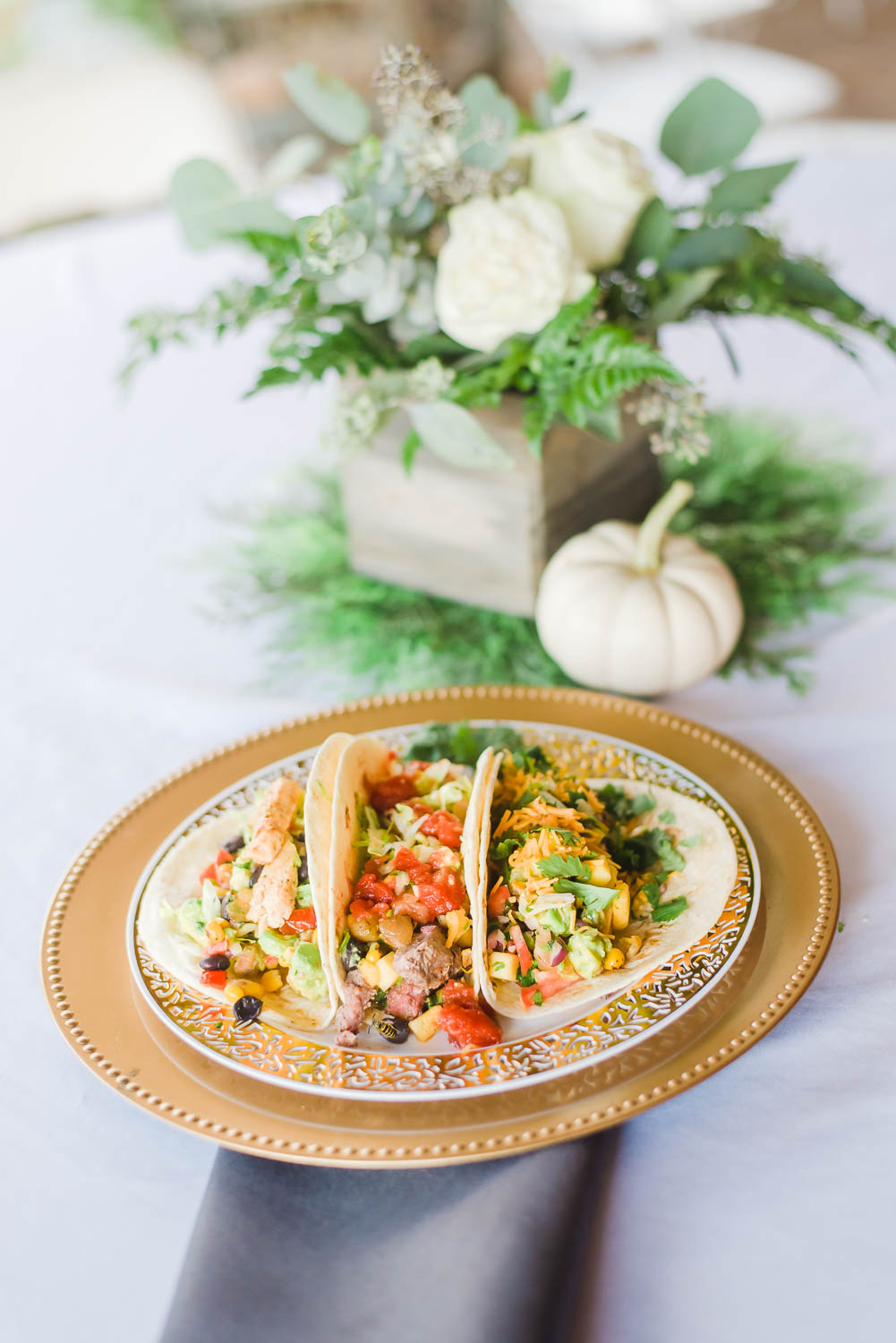 tacos and white pumpkin center pieces