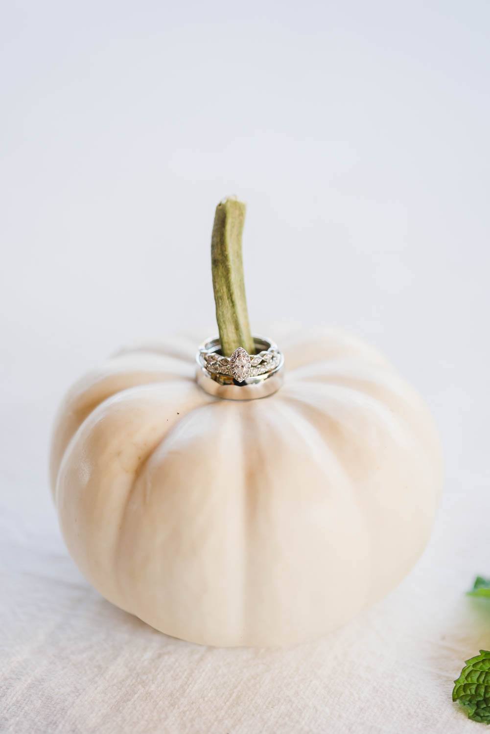 white pumpkin with wedding ring on the stem