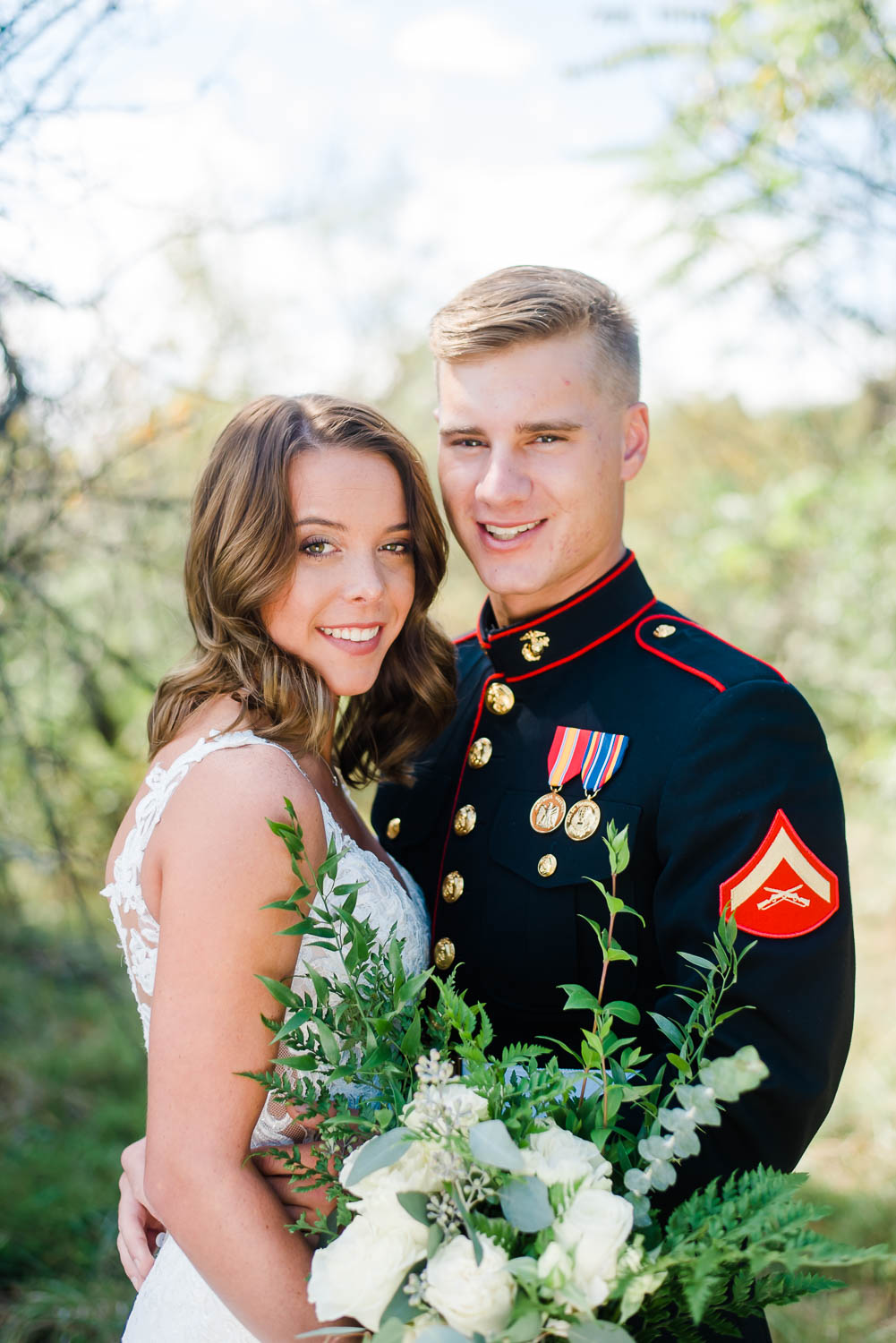 military wedding couple outside