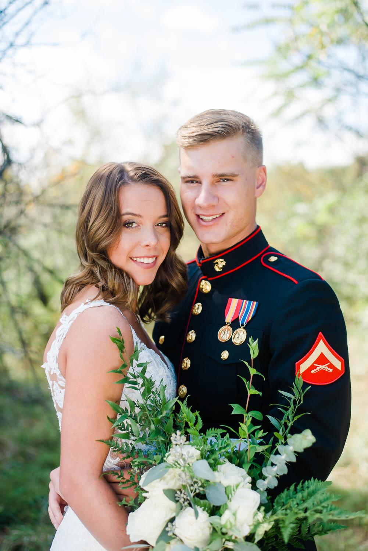 military wedding couple outside