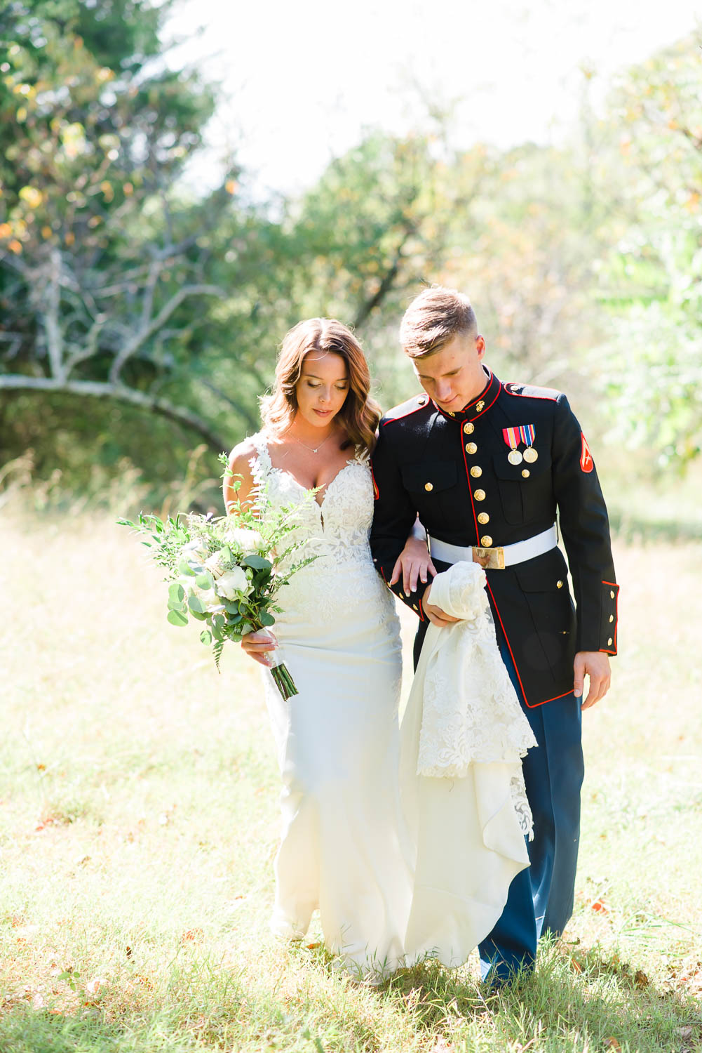 military wedding couple walking outside in Tennessee