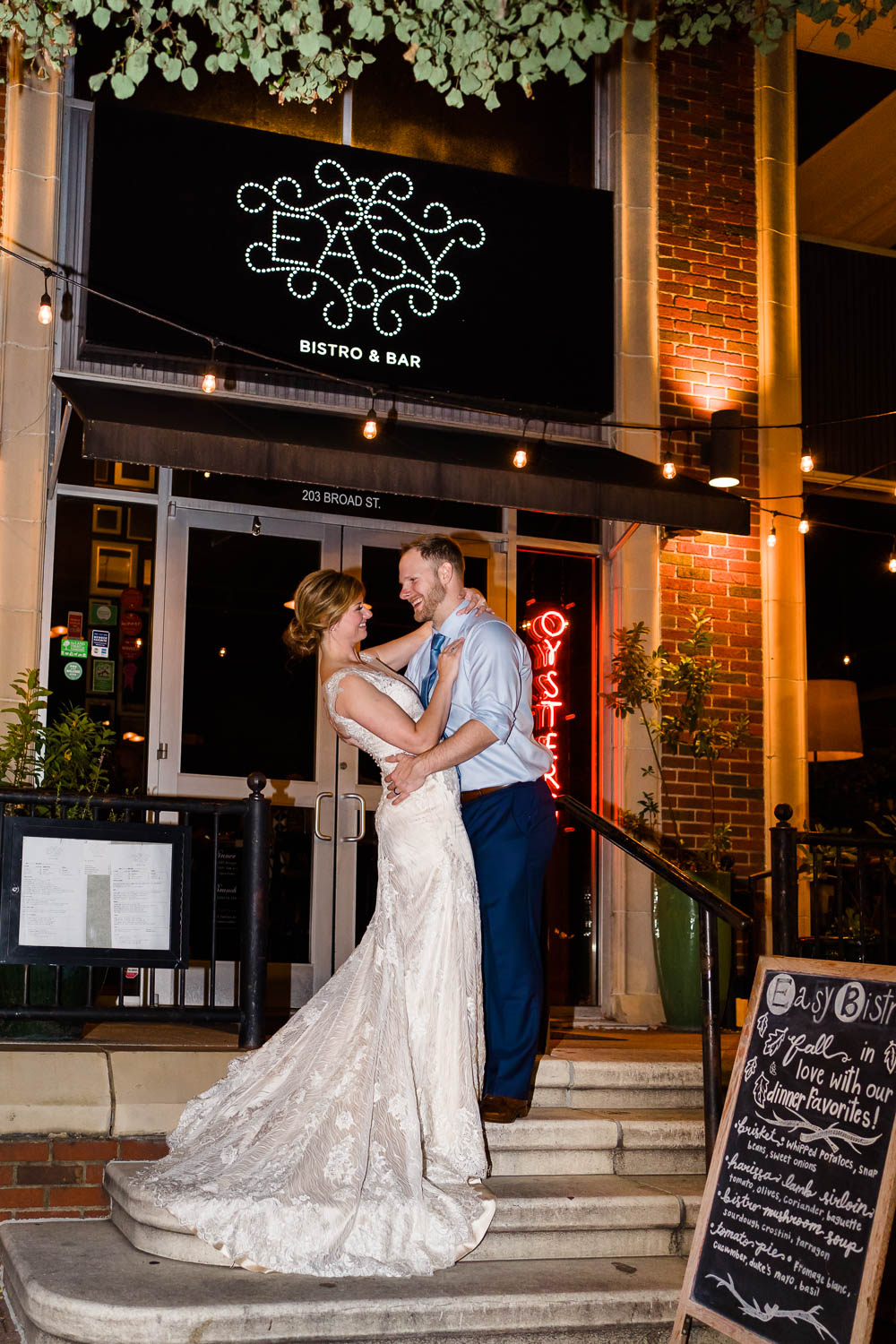 Surprise wedding portraits out in front of EasyBistro in Chattanooga
