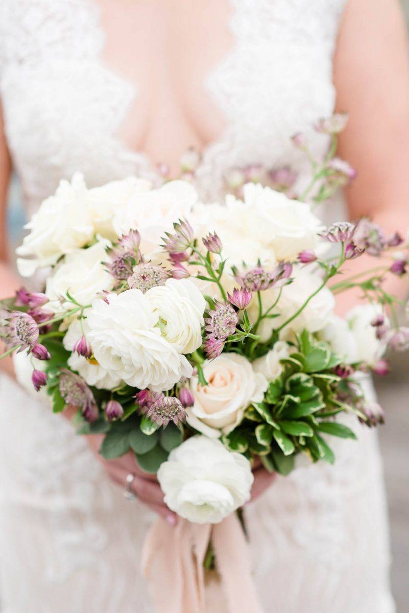 white garden rose wedding bouquet