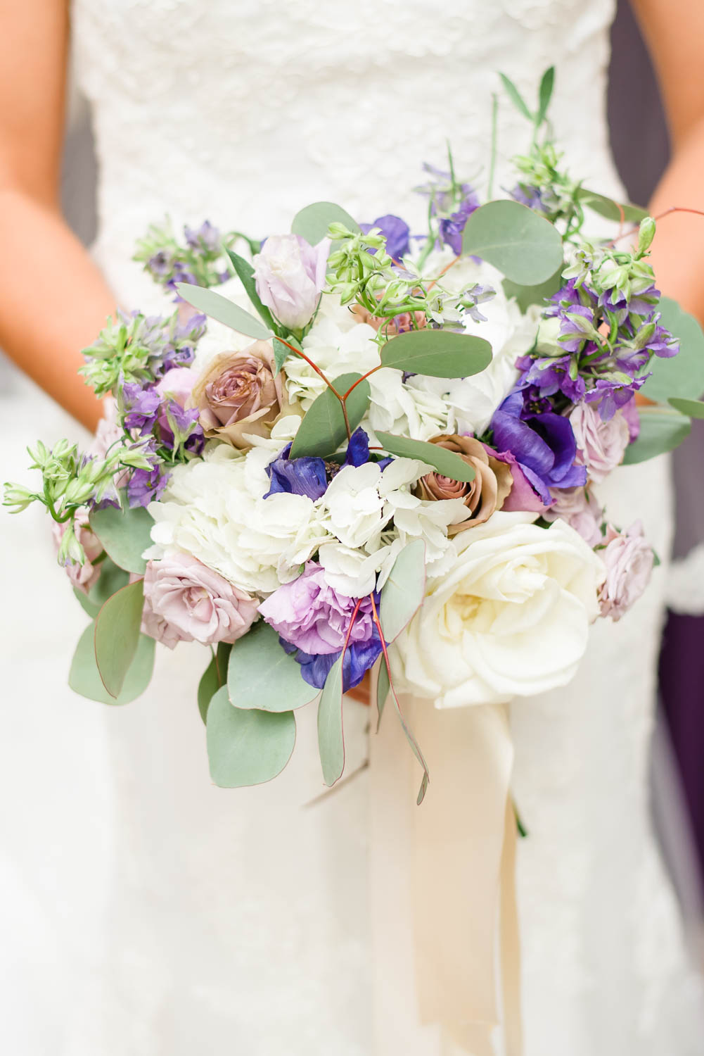 purple and white wedding florals