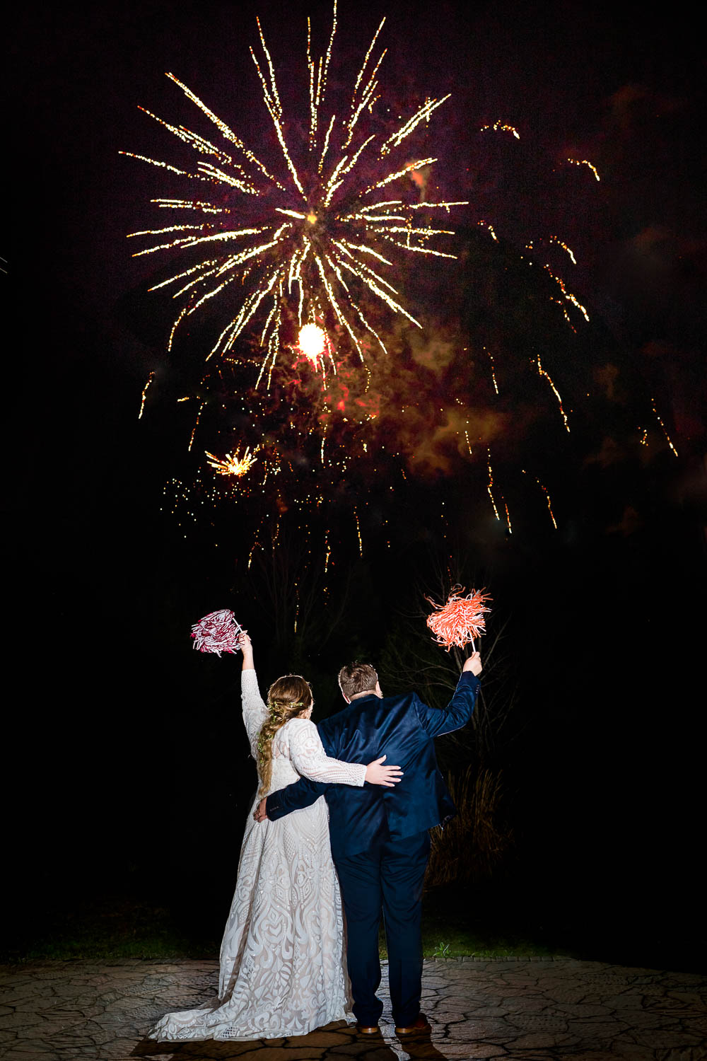 wedding fireworks at night