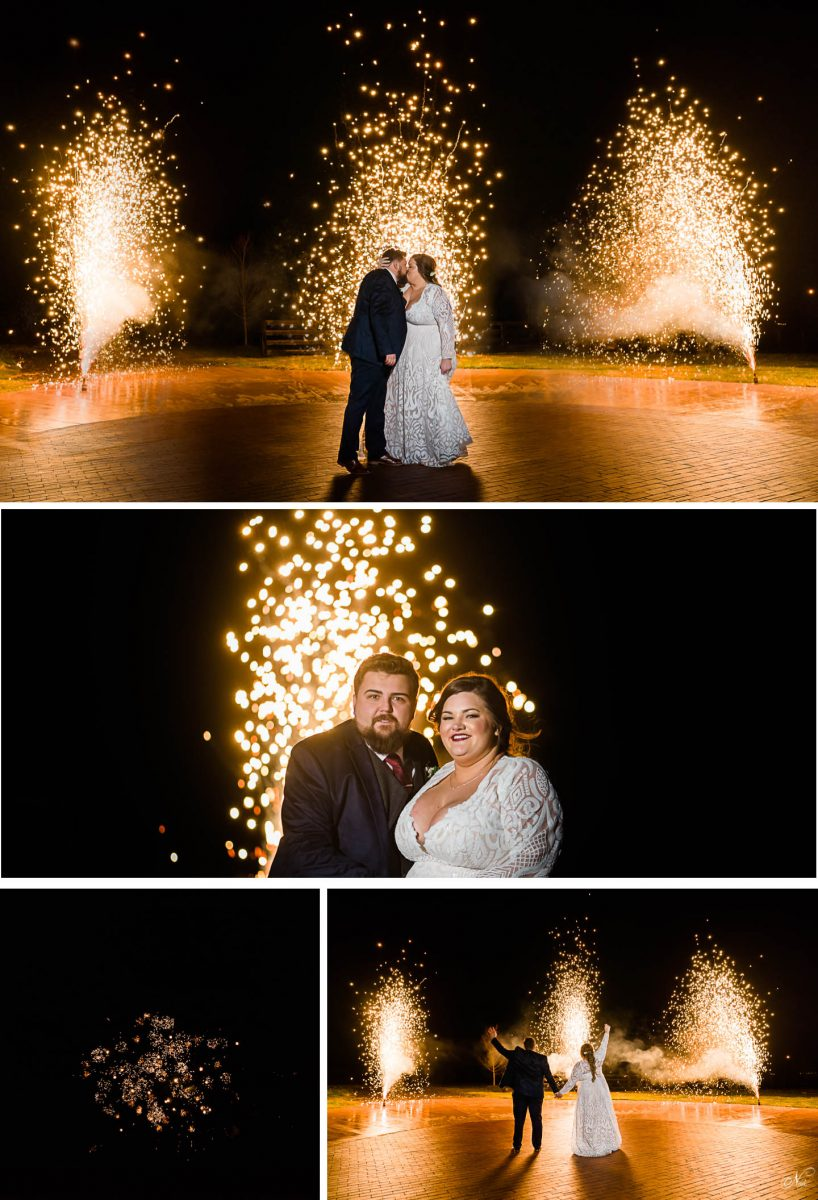 pyro fountains with bride and groom at night