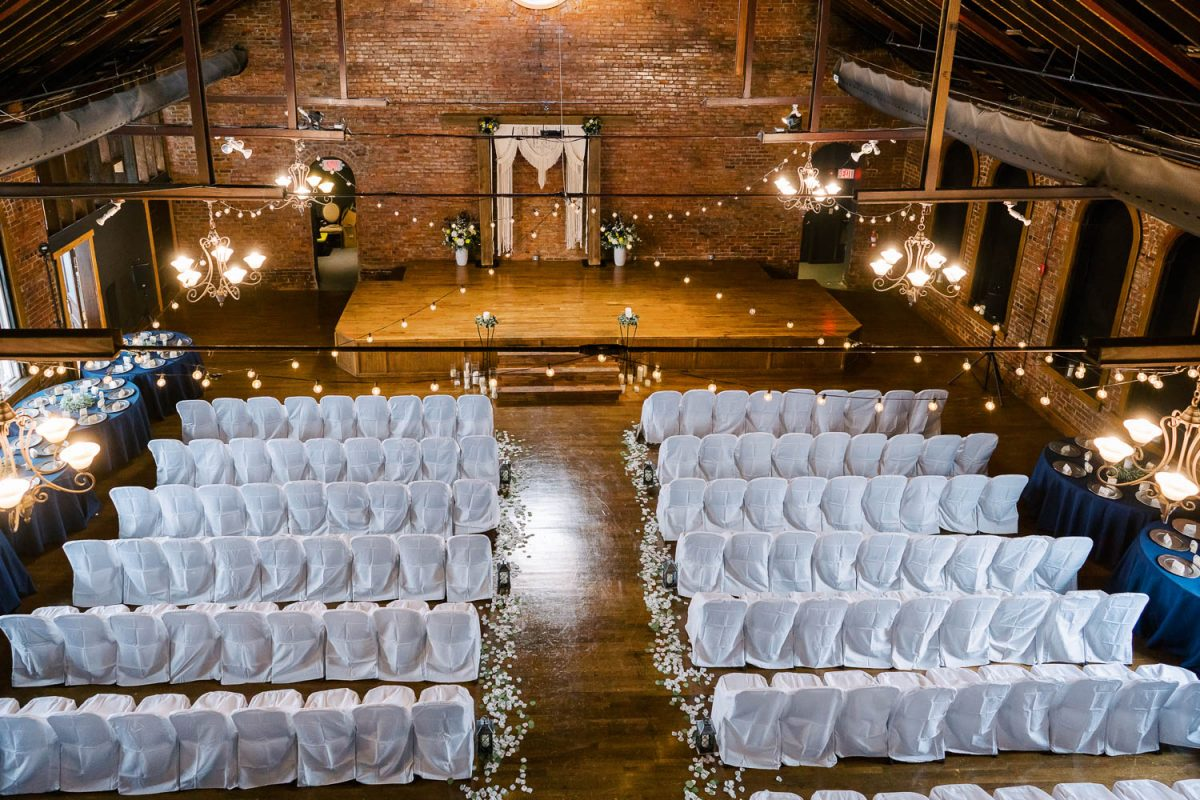 church ceremony with white chair covers