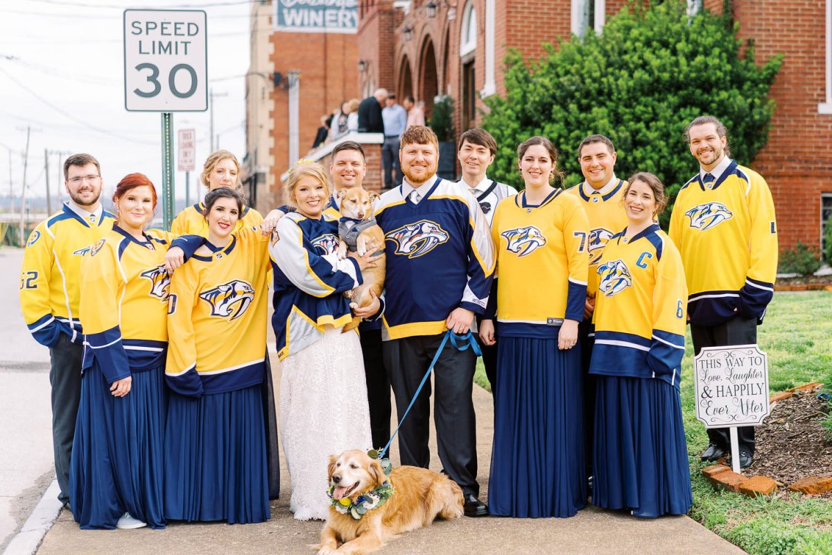 wedding party wearing predators jerseys