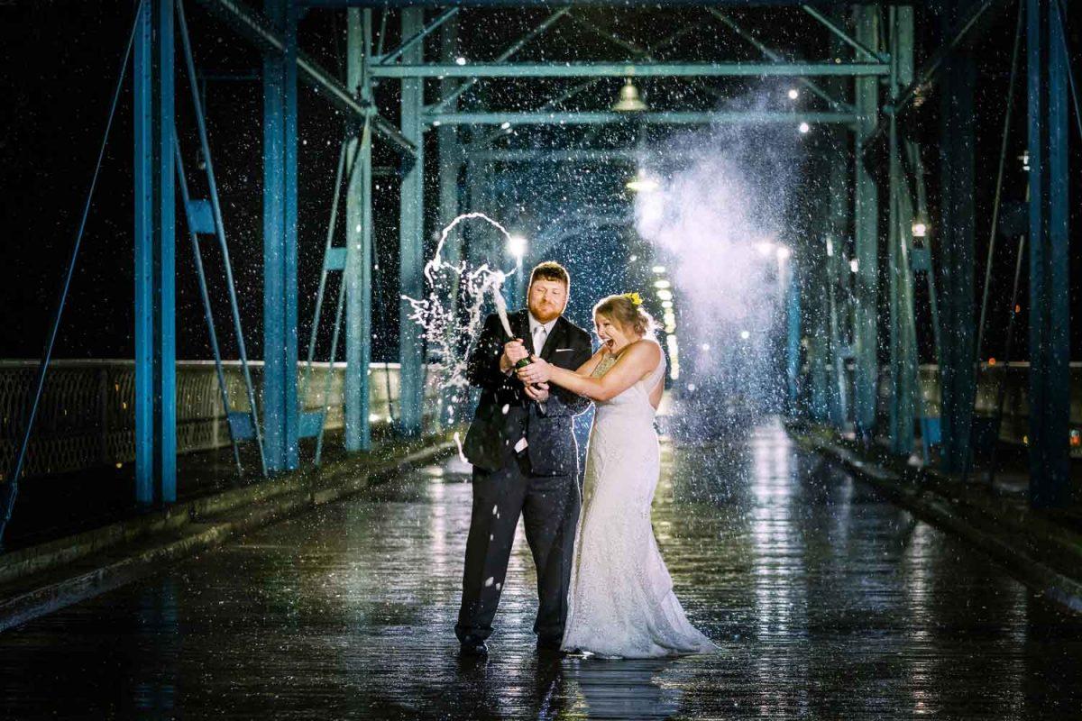 Champagne on bridge at night