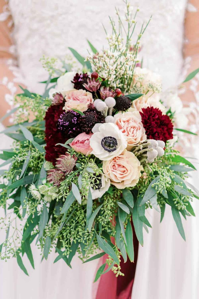 fall rich red and greenery bouquet
