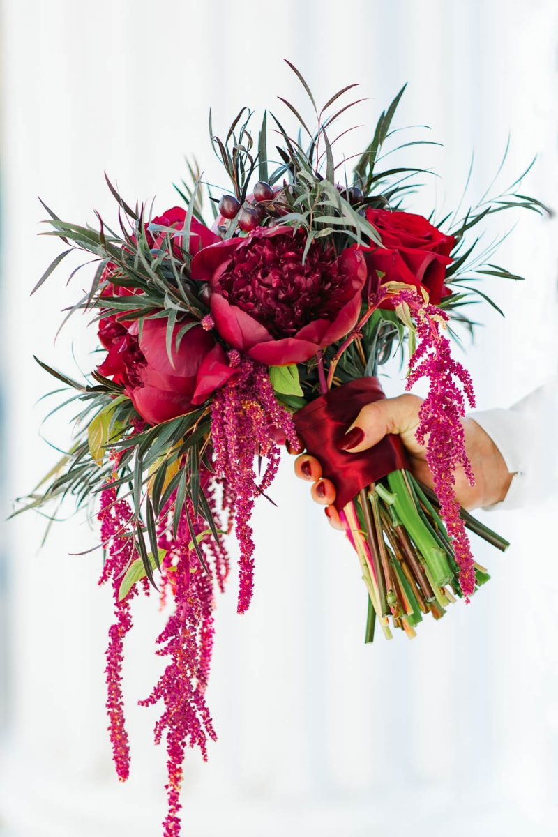 red wedding bouquet