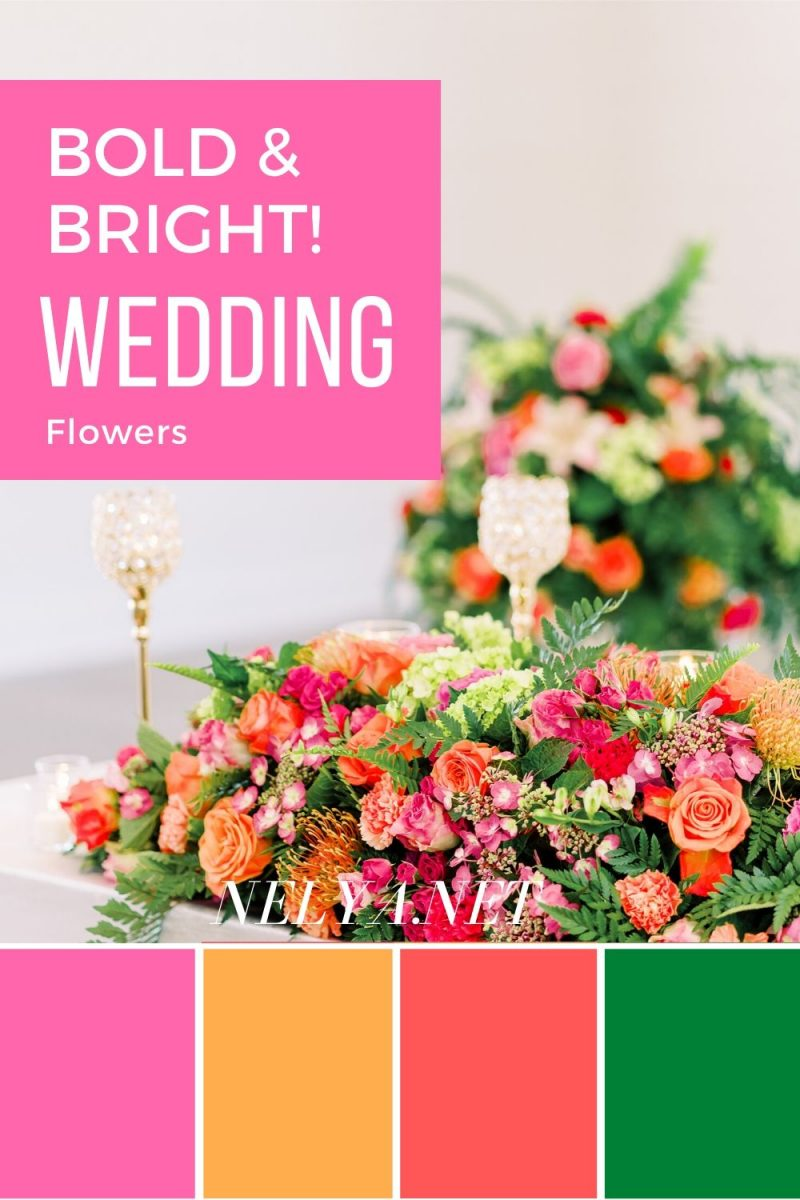 bold and bright pinks and coral wedding flowers