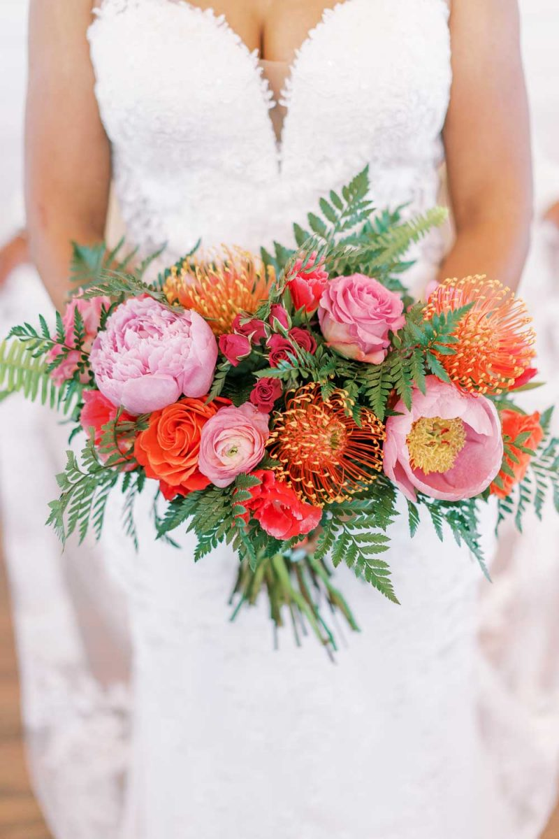 pinks and coral wedding bouquet