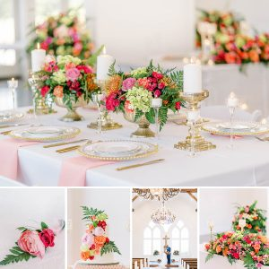 Pinks and coral summer wedding editorial
