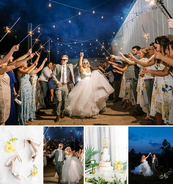 Lemon and sage summer wedding with sparklers